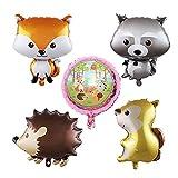 CUIZC Globo de aluminio con dibujos animados de bosque, globo de animal, para niños, fiesta de cumpleaños