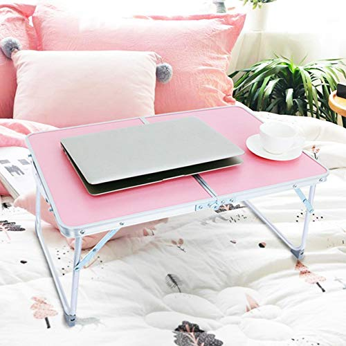 m·kvfa Foldable Lap Desk, Large Bed Tray Portable Multifunction Lazy Laptop Table for Student Dormitory Studying Homework Writing (Pink)
