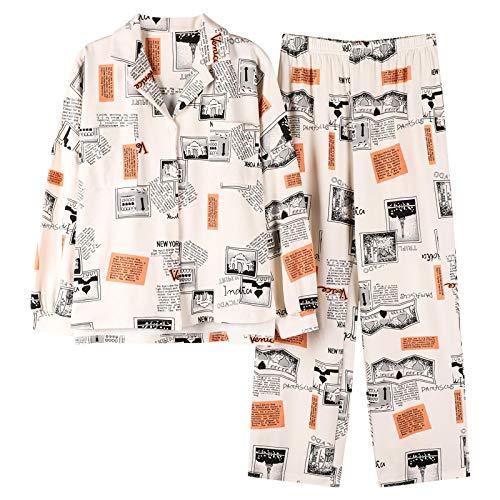 DFDLNL Conjunto de Ropa de Dormir de otoo Pijamas Sueltos de Manga Larga para Mujer Ropa de hogar de algodn para Mujer Pijamas XXXL