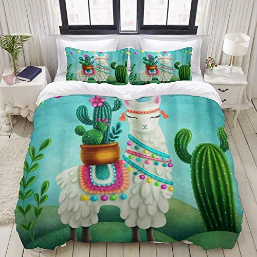Funda nórdica, Tribal Alpaca Llama Cactus, Juego de Cama Ultra cómodo, Ligero, Lujoso, Juegos de...