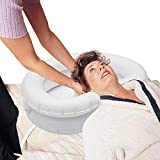 Inflatable Hair Washing Basin for Bedridden - Large Inflatable Shampoo Basin/Portable Shampoo Bowl-in Pillow for Supreme Comfort. Portable Hair Washing Sink for Soaking Locks (White)