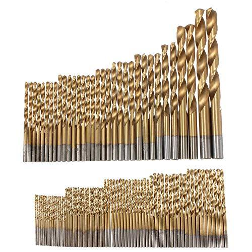 Drill Bit 100pcs 1.5mm - 10mm Titanium Coated Drill Bit Set High Speed Steel Manual Twist Drill Bits