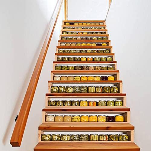 tzxdbh suelo vinilo rollo Amarillo enlatado gabinete 100CMx18CMx6pieces(39.3'w x 7'h x 6pieces) Pegatinas para escaleras en PVC Lavable con Muy Alta resolución de impresión y Larga duración Calcomanía