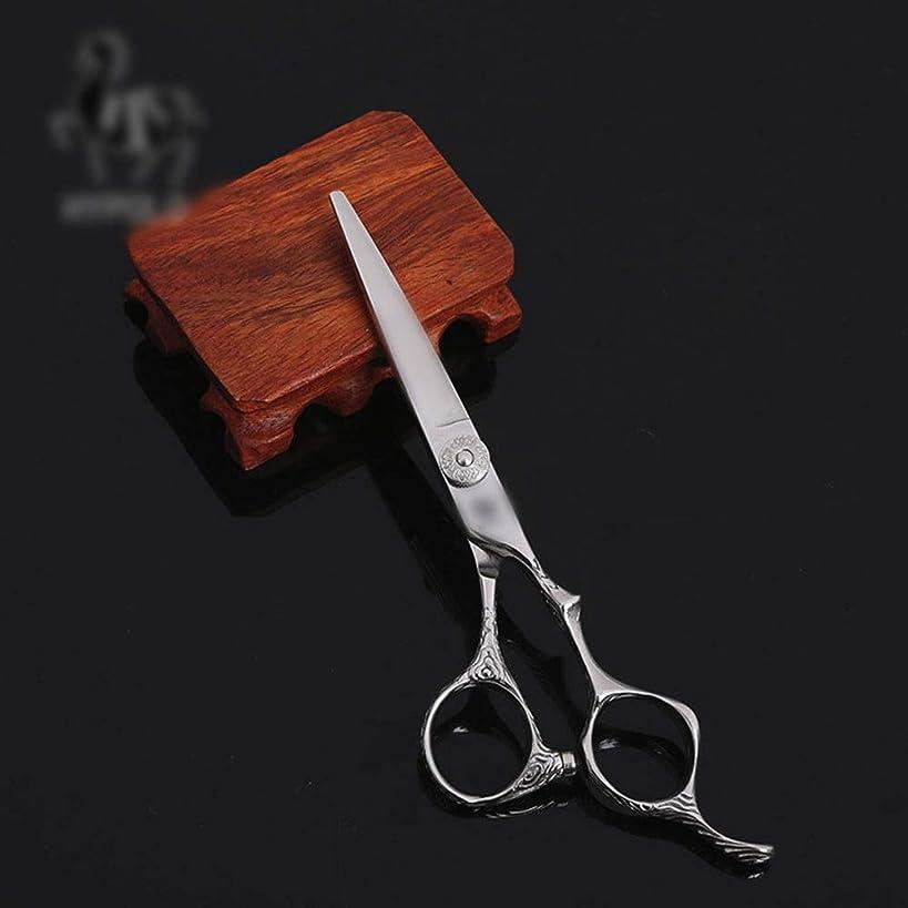 大陸キモい大陸6インチの美容院の専門のヘアカットの平らなはさみのステンレス鋼の平らなはさみ モデリングツール (色 : Silver)
