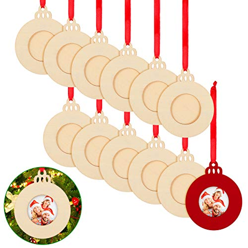 Queekay 12 Pieces Christmas Unfinished Wood Picture Ornaments Bells Photo Ornament Frames for Holiday Picture Frame Presents and Tree Decoration