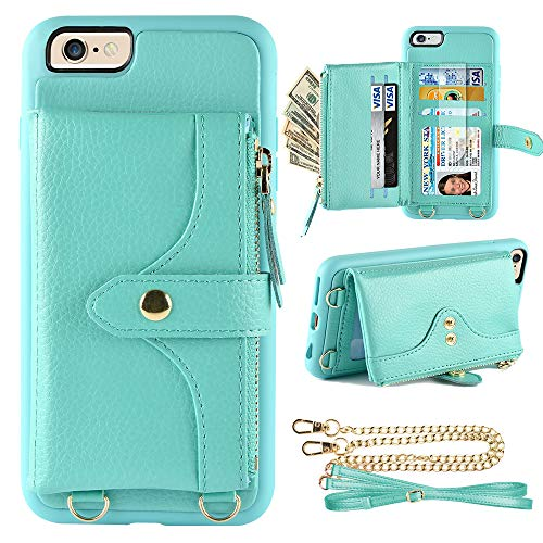 LAMEEKU Wallet Case Compatible with iPhone 6S Plus, iPhone 6 Plus Wallet Case Card Leather Case Wrist Chain Crossbody Strap Zipper Case for iPhone 6 Plus/iPhone 6S Plus, 5.5 inches-Mint Green