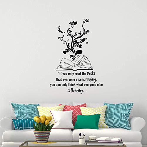 Wall Stickers Decal for Living Room Book Wall Decal Science Reading Knowledge Novel Story Vinyl Sticker Decoration for Boys Girls Bedroom Room School Library Window Inspirational Décor 39.4 in
