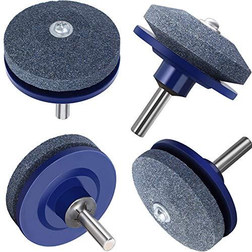 SUNSHINETEK Afilador de Cuchillas para cortacésped Paquete de 4 Cortacésped Afilador Afilador de Piedra para la mayoría de los taladros eléctricos Taladro Manual