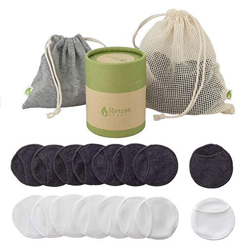 Reusable makeup remover pads - 16 Pack 8 White 8 Black Washable Bamboo Cotton Soft Rounds with Finger Holes - PLUS Cotton Laundry washing Bag, Grey Cotton Travel Bag and Gift Box - Eco Skin Eye Nails