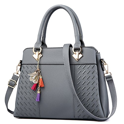 Womens Purses and Handbags Ladies Designer Satchel Tote Bag Shoulder Bags, Gray