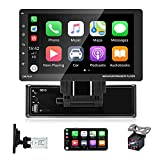 EKAT Single Din Car Stereo with Carplay 9 Inch Touch Screen Car Radios MP5 Player with Bluetooth/FM /USB/AUX,Phone Mirror Link + Backup Camera