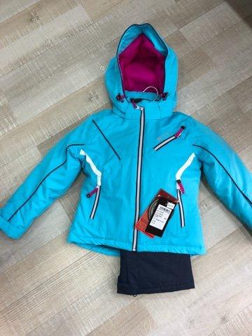 biting sneeuwpak voor meisjes, Tecnico TEMONASTR (jas + salopet), turquoise-wit, 152