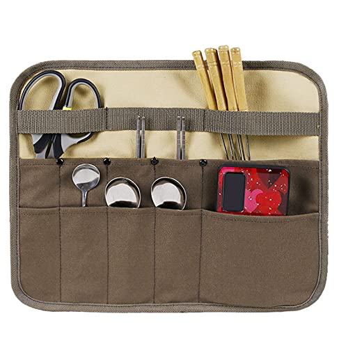 Camping Utensil Bag, Knife Roll Bag for Chefs Canvas Roll Up Culinary Bag Tableware Storage Hanging Bag Multi-Purpose Knife Cover for Cooking, Camping