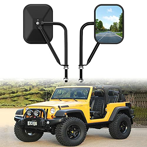 Door Off Mirror Compatible with Jeep Wrangler TJ JK CJ YJ JL & Unlimited, Wider View Easy-Install Door Hinge Side Mirrors for Jeep
