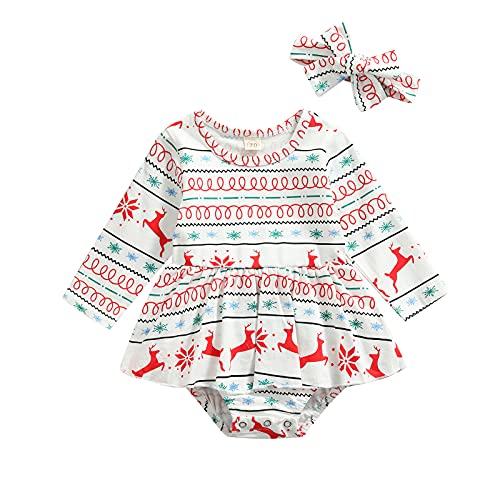EpicLife Traje de Navidad para recién nacido, estampado de renos, empalme de manga larga, mameluco y diadema, 2 unidades de ropa de Navidad para bebés, blanco, 6 mes