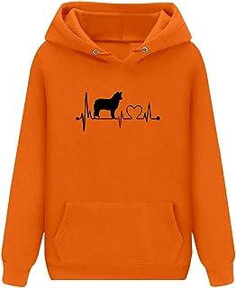 wodceeke Autumn Winter Womens Simple Fashion Print Long Sleeve Pullover Hoodie Drawstring Sweatshirt with Pocket