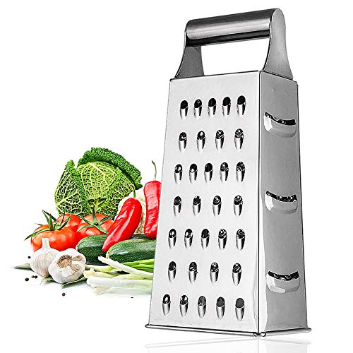 CHEPL Edelstahl 4 Seiten Reibe Hobel Hobel mit,Griff Gemüseschneider,kreative Küchenutensilien,Multifunktions-Gemüsereibe,für Hart- & Weichkäse, Gemüse