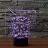 Drum Set Led 3D Night Light Remote Touch Lámpara de mesa colorida Usb Nightlight Atmosphere Lámpara para niños Regalo decorativo