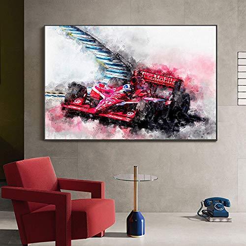 Póster de coche de carreras de motocicleta, pintura en lienzo, decoración nórdica para el hogar, cuadro artístico de pared para decoración de sala de estar 60x90 CM (sin marco)