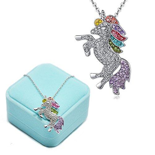 Collana con Ciondolo Braccialetti Unicorno -Bracciale Collana con Unicorno in Cristallo Arcobaleno per Ragazze - Collana Arcobaleno con Unicorno