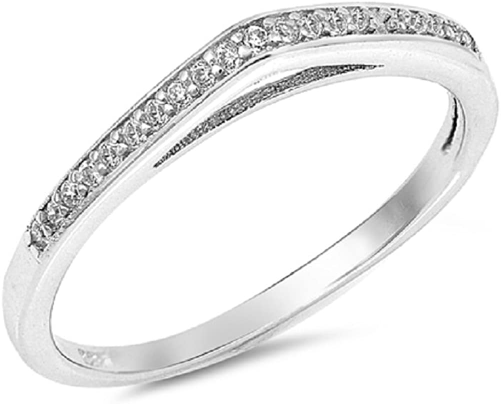 CLOSEOUT WAREHOUSE Clear Cubic 1 year warranty Max 51% OFF Designer Stackable Zirconia Ring