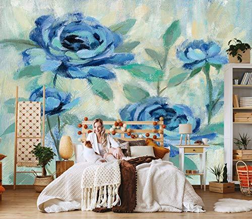 Fotomural Vinilo Pared Planta Flor Azul 400x280cm/157x110in(Wxh) Murales De Pared 3D Sala De Estar Fondo Papel Pintado De No Tejido Fotomurales Decorativos Pared