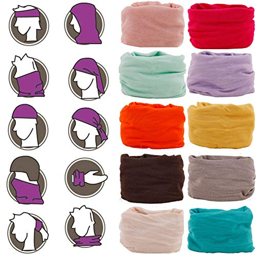 Multifunctional Headwear Hair Band Scarf Head Wrap Headband Sport Sweatband Face Bandana Mask Neck Gaiter 12 in 1 Magic Hair Scarf Cycling, Fishing, Running, Yoga Outdoor Head Scarf UV Resistence 10pc