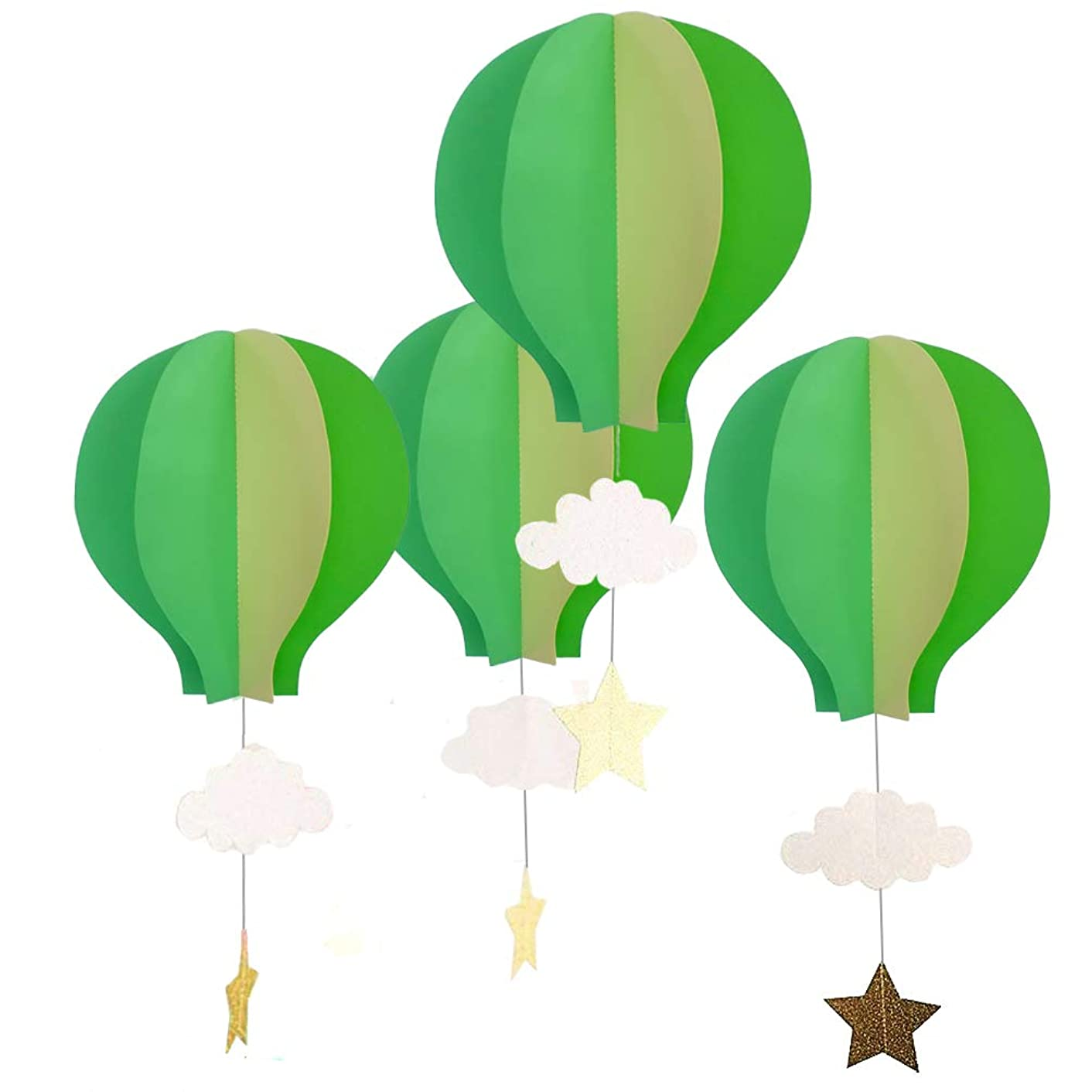 8 Pcs Large Size Hot Air Balloon 3D Paper Garland Hanging Decorations for Wedding Baby Shower Valentine's Day Christmas Décor Birthday Party Supplies by AZOWA (Green Yellow)