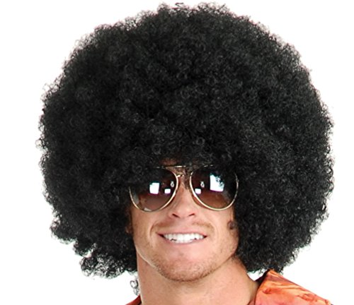 Afro Wig - #1 Short Fluffy Afro Wigs Heat Resistant Synthetic Unisex Men Women Cosplay Anime Fancy Funny Wigs for Party - Black