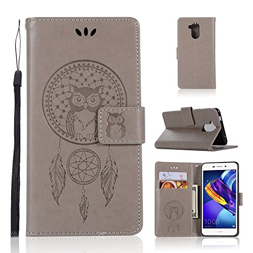 Coque Custodia in Pelle per Huawei Honor 6C PRO/V9 Play-goffratura Custodia a Conchiglia in Similpelle con Custodia per schede per Huawei Honor 6C PRO/V9 Play(Grigio)