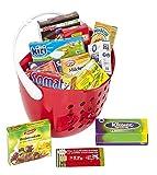 Polly Kaufladen Zubehör Set Roter Einkaufskorb gefüllt mit Miniaturen   Kinder Spielzeug für den Kaufmannsladen   Kinderkaufladen