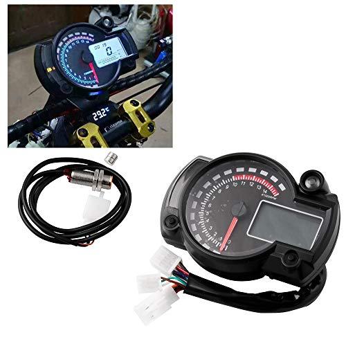 Motorrad-Digital-Geschwindigkeitsmesser Tachometer, Universal W/Geschwindigkeitssensor 7-Farb-LCD-Anzeige Ölpegelmesser Ganganzeige