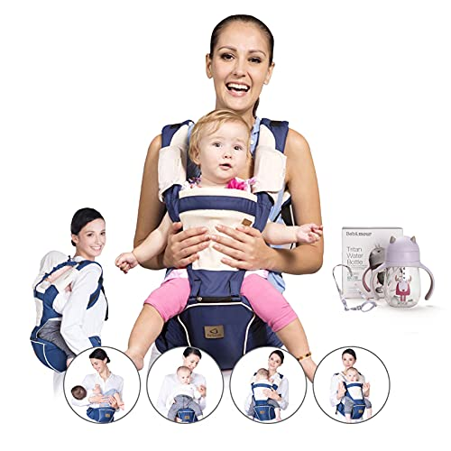 Bebamour Baby Carrier Front and Back Carry Baby Newborns to Toddler Baby Hip Carrier 6 in 1,2 Pieces Teething Pads,Dark Blue