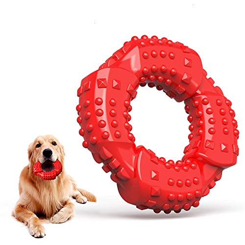 Feeko Dog Chew Toy for Aggressive Chewers Large Breed, Ultra-Tough & Hard Natural Rubber Dog Toy Nearly Indestructible Puppy Toys for Small Medium Breed (Red)