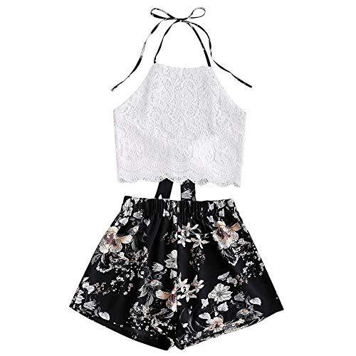 ZAFUL - Conjunto de camiseta y pantalones cortos con estampado floral para mujer Impresión Negro M