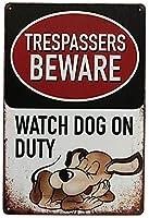 警告犬に注意してください安全金属錫サイン侵入者犬に注意してください家にぶら下がっているアートワークプラークWallArt装飾サインアウトドアリビングヴィンテージサインストリートガーデンパブリックサイン12X8インチ メタルプレートブリキ 看板 2枚セットアンティークレトロ