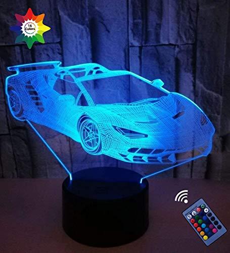 YTDZ Luz Nocturna para Coche con ilusión óptica 3D, 7 Colores cambiantes, Interruptor táctil con USB, lámpara de Mesa LED, lámpara de Mesa para cumpleaños, niños, Navidad, Regalo