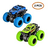 TWFRIC Kids Inertia Car, 2 PCS Off-road Vehicles Toys Truck 360 Degree Rotating Educational Off Road Cars for Boys Girls ( 1 Blue, 1 Green )