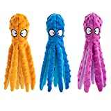 3 Pack Dog Squeaky Octopus Toys- No Stuffing Plush Toy with Sounding Crinkle Paper and Squeaker Inside Pet Puppy Dog Chew Toys for Interactive Training Games Playing (12.6, Orange & Blue & Purple)