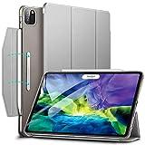 ESR iPad Pro 11 ケース 2020 オートスリープ ウェイク Apple Pencil 2 ワイヤレス充電対応 軽量 留め具付き イッピー三つ折りスマートケース iPad Pro 11インチ 2020用ハード背面カバー グレー