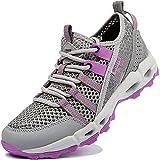 Ranberone Zapatos de Deporte al Aire Libre Antideslizantes para Mujer Zapatos de Agua de Malla Transpirable Zapatos de Senderismo Zapatos para Caminar de Verano Gris Violeta 38