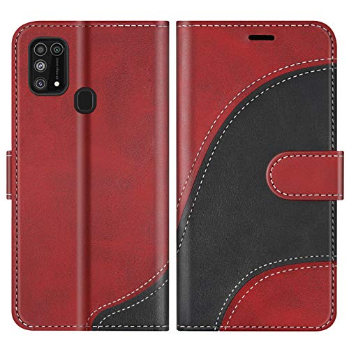 BoxTii Hülle für Galaxy M31, Leder Handyhülle für Samsung Galaxy M31, Ledertasche Klapphülle Schutzhülle mit Kartenfächer & Magnetverschluss, Rot