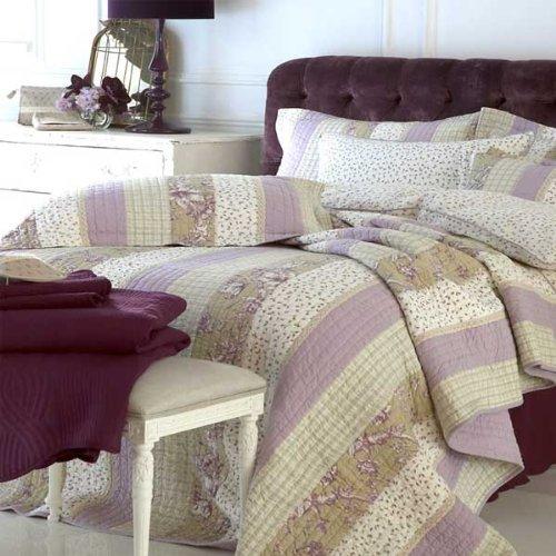 Taie d'oreiller carrée en coton Camille - boutons de rose - crème/lavande