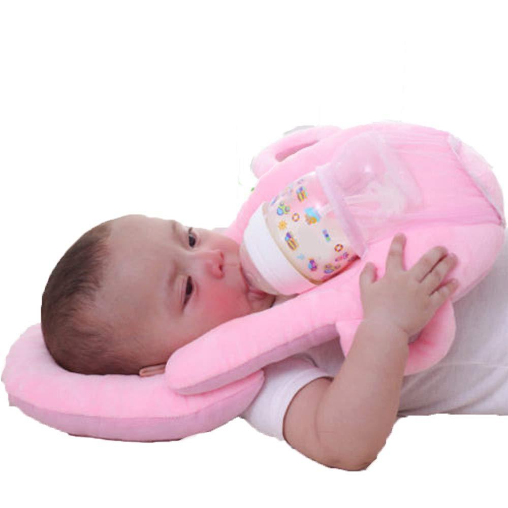 Multifunctional Portable Baby Feeding Pillows Portable Detachable Self-Feeding Lounger Baby Bottle Holder Infant Cushion (Pink)