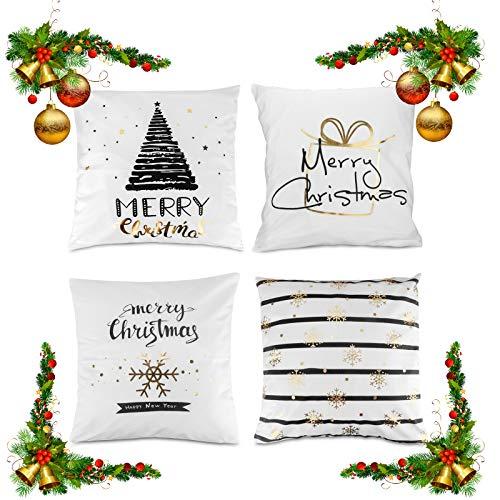 Komake 4Pcs Weihnachten Kissenbezüge Christmas Kissenhülle Heißprägen Pillowcase, Frohes neues Jahr Weiß Sanft Flansch Kissenhüllen für Sofa Car Bett Home Party Decor,Leinen [45x45cm] (Weiß)