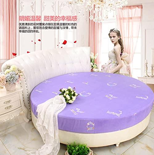 CYYyang Protector de Colchón | Capa Superior de algodón Transpirable Cama Redonda de algodón Puro antideslizante-13_2.2