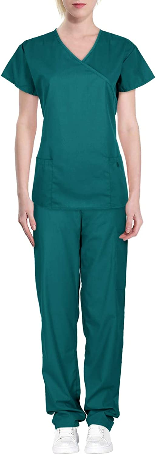 Green Town Women's Solid Medical Scrub Set Mock Wrap Top and Pants