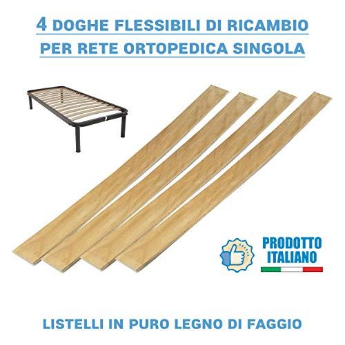 Doghe in Legno di Ricambio per reti Ortopediche, 4 Listelli Legno curvato e Flessibili in faggio – doghe Ricambio 79 cm – per Rete e Letto Singolo
