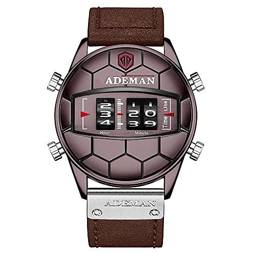 KDCD Rodillo Digital Mostrar Reloj para Hombre, Movimiento de Cuarzo Electrónico Original Cinturón de Cuero 3Atm Relojes de Ocio a Prueba de Agua, Relojes de Recreo de Ip Gaanoplast