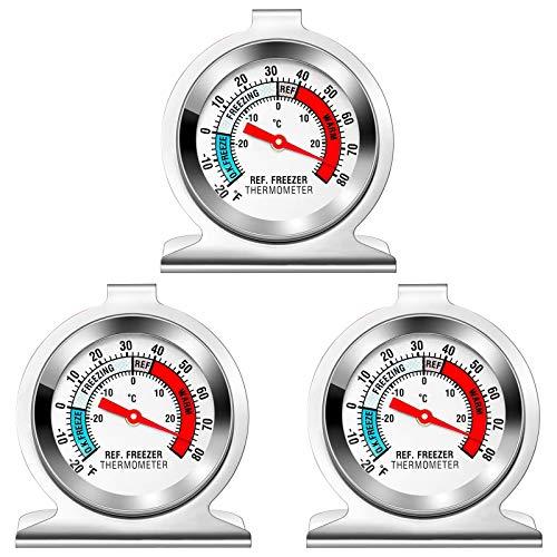 Kühlschrank Thermometer, Gefrierschrankthermometer, 3 Stück kühlschrankthermometer Set, Thermometer rund eisfach Thermometer kühlthermometer für Kühlschrank Gefrierschrank Familien Restaurants Cafés